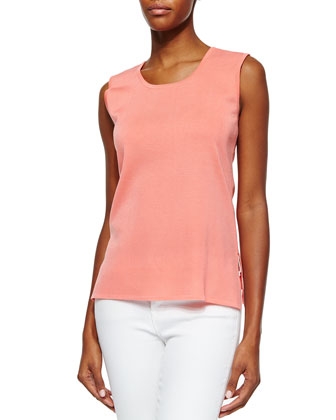 Scoop-Neck Knit Tank, Coral