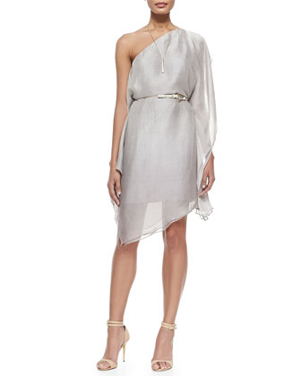 One-Shoulder Flowy Dress W/ Belt, Dark Bone Reptile