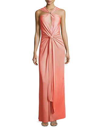 Sleeveless Gown with Tie & Slit Detail