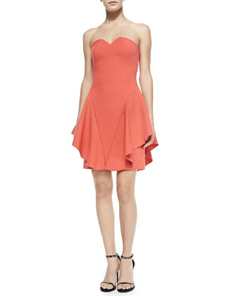 Strapless Structured Dress W/ Side Ruffles