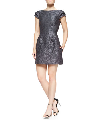 Croc-Print Dress W/ Cap Sleeves