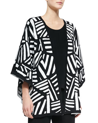 Graphic Reversible Cape Cardigan, Sleeveless Long Tank & Washable Wide-Leg ...