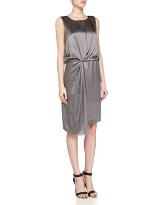 Front Twist Silk Tank Dress, Gray