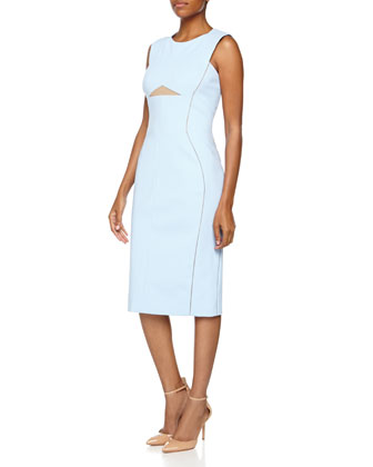 Contrast-Trim Sheath Dress, Azure
