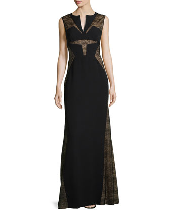 Split Neckline Gown W/ Lace