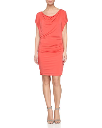 Cap-Sleeve Ruched Dress, Poppy