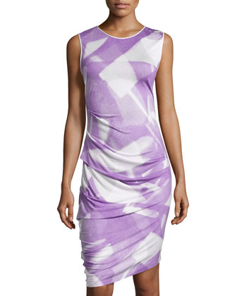 Sleeveless Ruched Asymmetric-Hem Dress