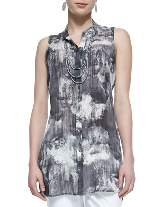 Merino V-Neck Cardigan, Ink Blot Print Shirt, Beaded Silk Cord Necklace & ...