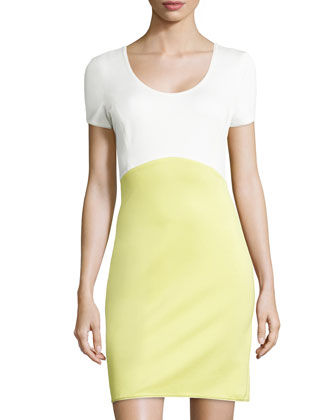 Short-Sleeve Colorblock Ponte Dress, Lemonade