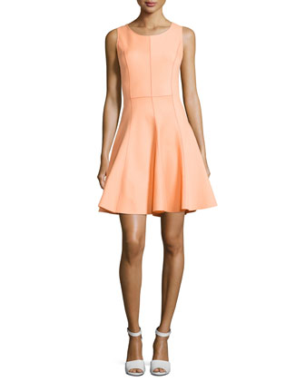 Sleeveless Ponte Flutter Dress, Nectar