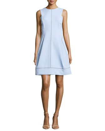 Crewneck Short A-line Dress, Azure