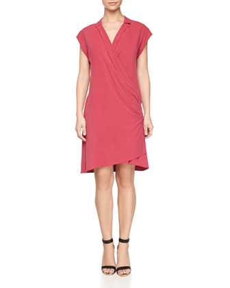Draped-Front Silk Wrap Dress, Raspberry