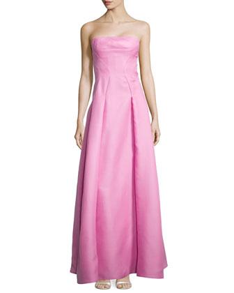 Strapless Gazaar Bustier Gown, Sea Pink