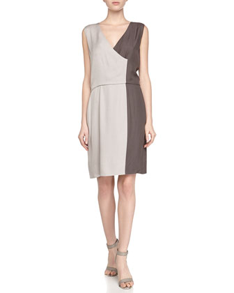 Sleeveless Colorblock Charmeuse Dress