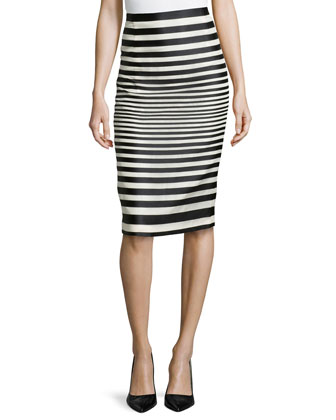 Striped Organza Pencil Skirt