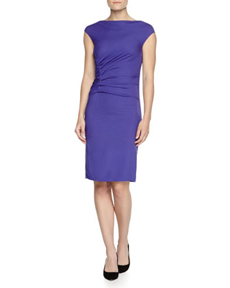 Cap-Sleeve Ruched Jersey Dress, Violet