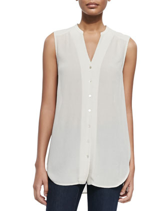Long Polished Ramie Jacket, Crinkled Crepe Sleeveless Shirt & Slim Stretch ...