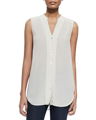 Long Linen-Blend Cardigan, Crinkled Crepe Sleeveless Shirt, Silk Beaded ...