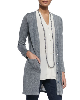 Long Linen-Blend Cardigan, Denim, Petite