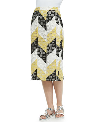 Henri Ladder-Stitched Pencil Skirt