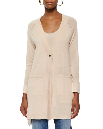 Long One-Button Merino Cardigan, Alabaster, Petite