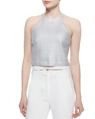 Daisy Layered Metallic Tweed Top