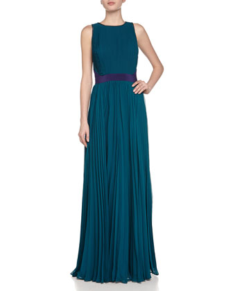 Sunburst Pleated Chiffon Gown