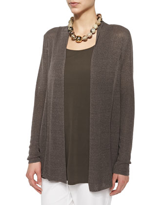 Polished Linen-Blend Cardigan, Rye, Women's