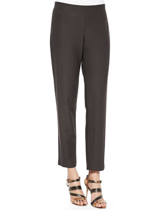 Washable Stretch-Crepe Ankle Pants, Rye