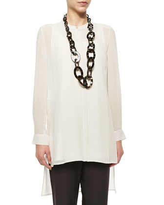 Long-Sleeve Sheer Silk Long Shirt, Bone, Petite