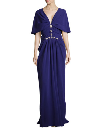 V-Neck Cowl-Sleeve Gown