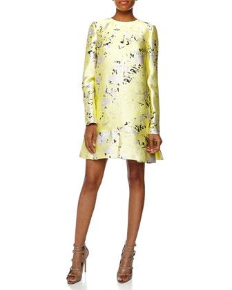 Long-Sleeve Printed Scuba Shift Dress, Soleil