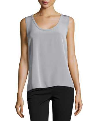 Sleeveless Scoop-Neck Silk Top, Gris