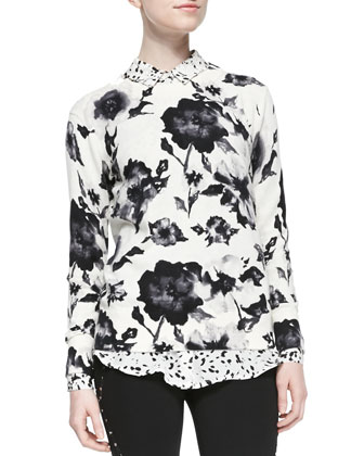 Crewneck Floral-Print Pullover, Long-Sleeve Printed Silk Blouse & Skinny ...
