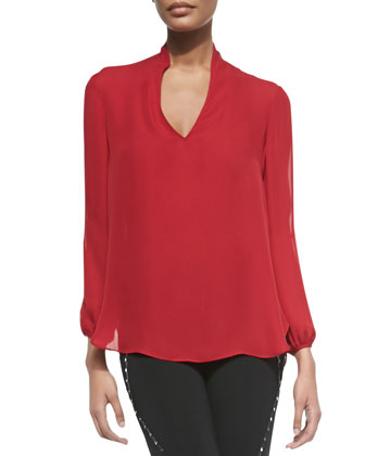 V-Neck Blouse with Cold Shoulders