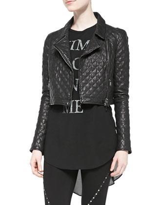 Cropped Quilted Moto Jacket, Message Muscle Tee & Skinny Pants with Stud ...
