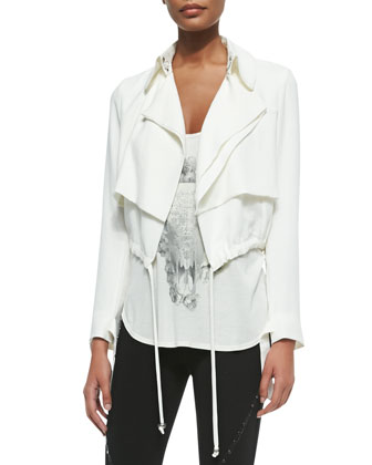 Cropped Draped Trench Jacket, Bed of Roses Racerback Tank & Skinny Pants ...