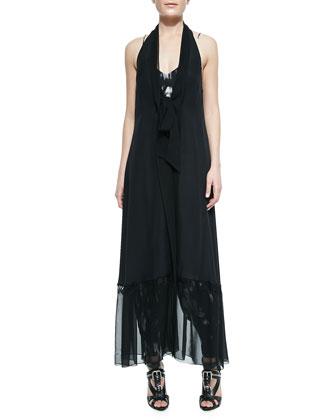 Sleeveless Cloak W/ Lace Racerback
