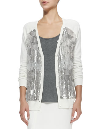 V-Neck Cardigan W/ Sequined Front, Scoop-Neck Tank W/ 3D Floral Appliqu?? & ...