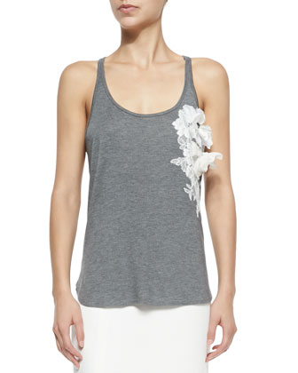 Scoop-Neck Tank W/ 3D Floral Appliqu??