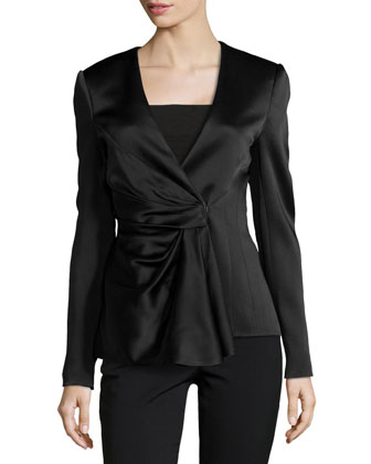 Satin Draped-Front Jacket, Black