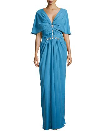 V-Neck Cowl-Sleeve Gown, Ocean
