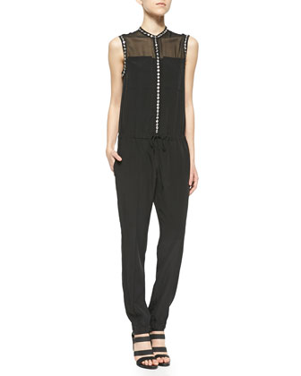 Chiffon-Top Beaded Jumpsuit
