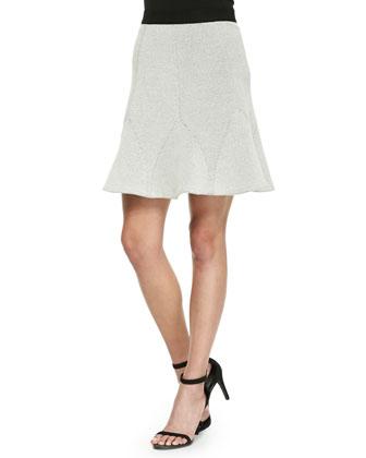 Half-Sleeve Jacquard Top & Flare-Hem Jacquard Skirt