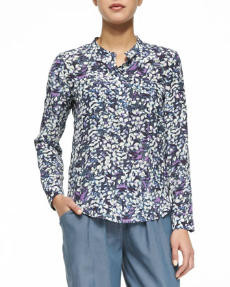 Tie-Waist Tapered Twill Pants & Long-Sleeve Floral Printed Blouse