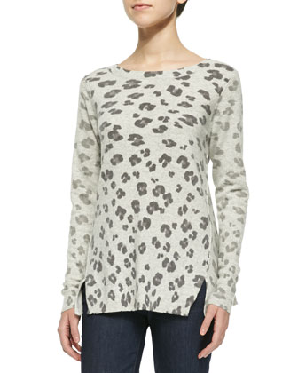 Leopard-Print Knit Pullover