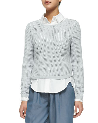 Long-Sleeve Mesh Sweater