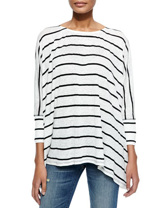 Patti Striped 3/4-Sleeve Slub Tee