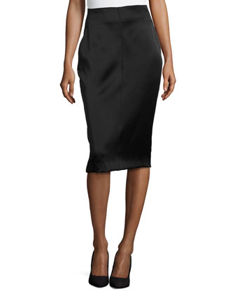 Satin High-Waist Pencil Skirt, Black