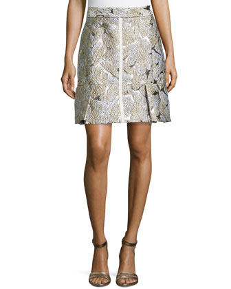 Leaf Jacquard Skirt W/ Pleated Hem